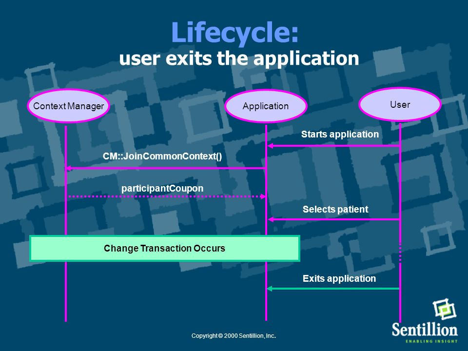 Lifecycle: user exits the application