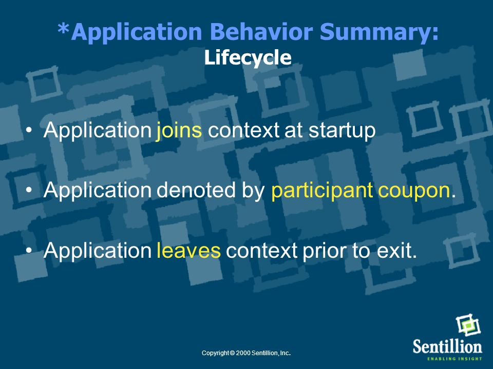 *Application Behavior Summary: Lifecycle