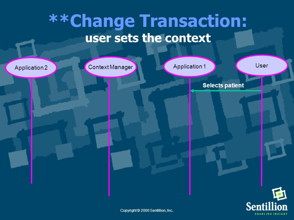 **Change Transaction: user sets the context