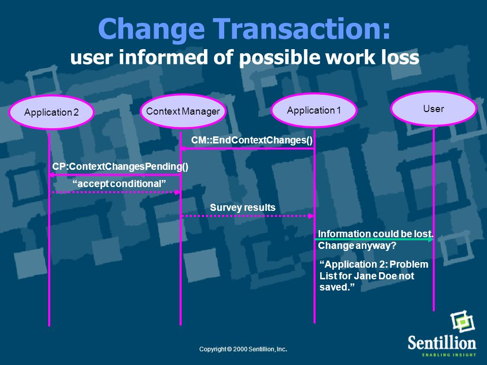 Change Transaction: user informed of possible work loss
