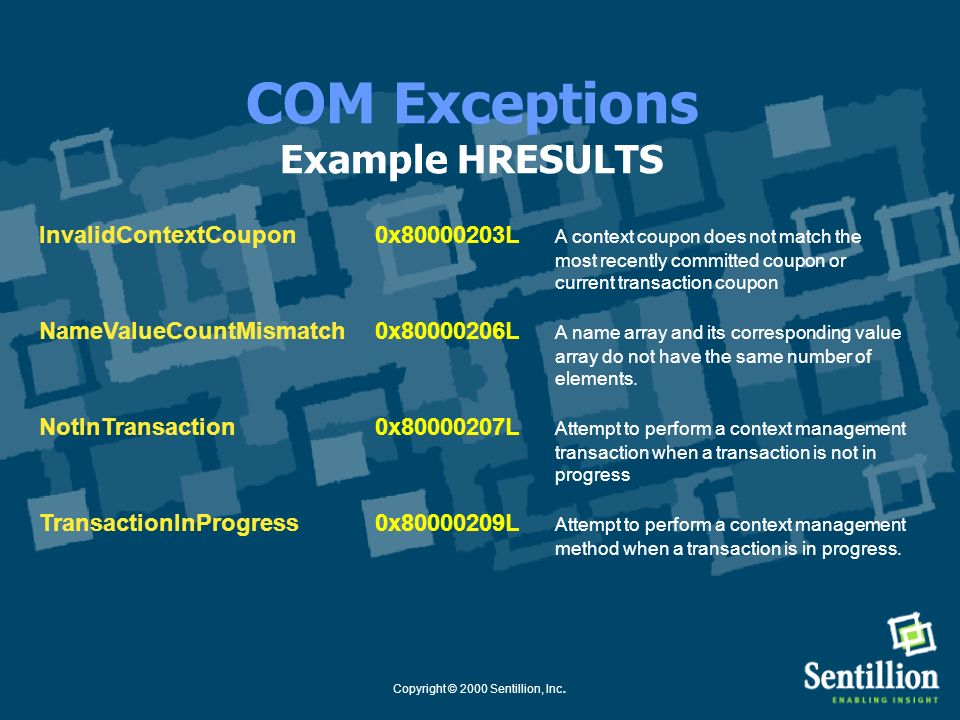 COM Exceptions Example HRESULTS