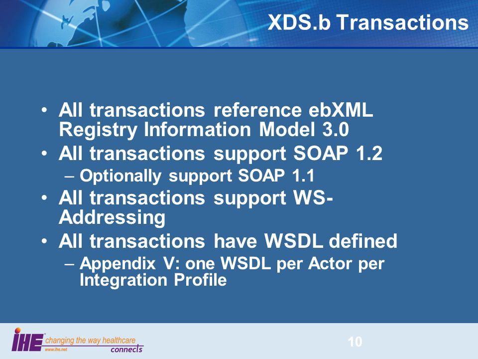 XDS.b Transactions All transactions reference ebXML Registry Information Model 3.0. All transactions support SOAP 1.2.