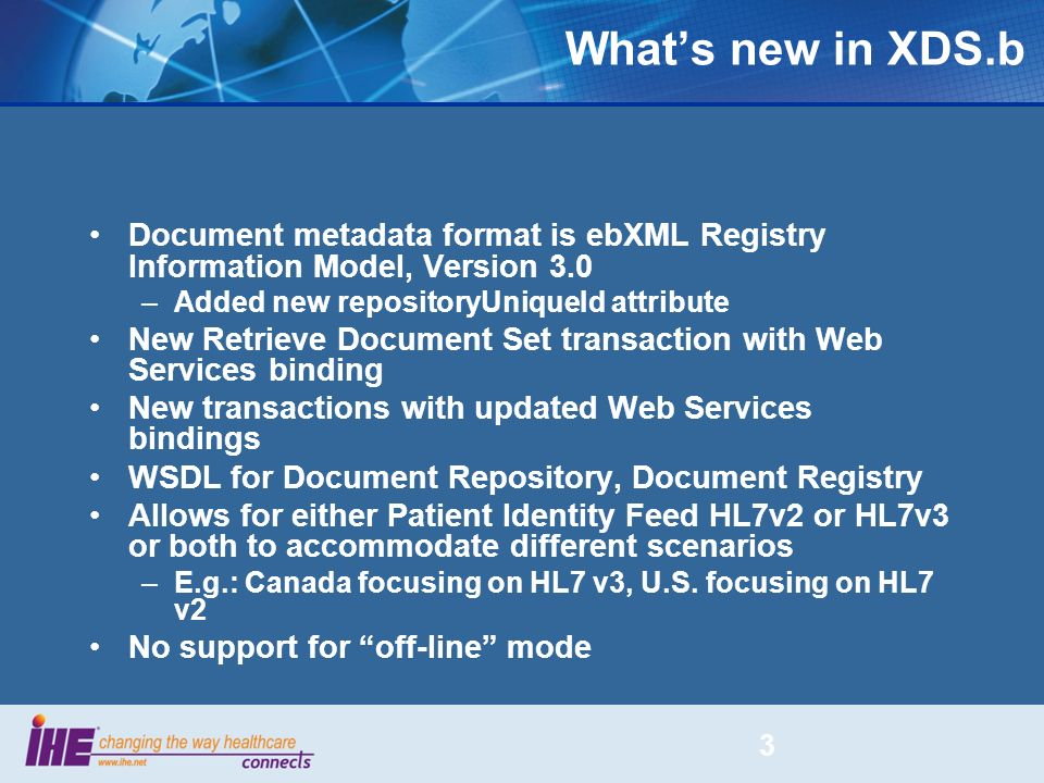 What's new in XDS.b Document metadata format is ebXML Registry Information Model, Version 3.0. Added new repositoryUniqueId attribute.