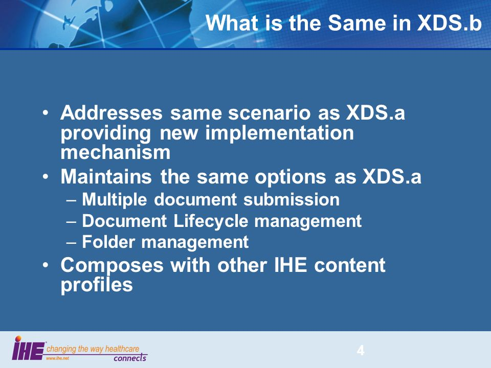 What is the Same in XDS.b Addresses same scenario as XDS.a providing new implementation mechanism. Maintains the same options as XDS.a.