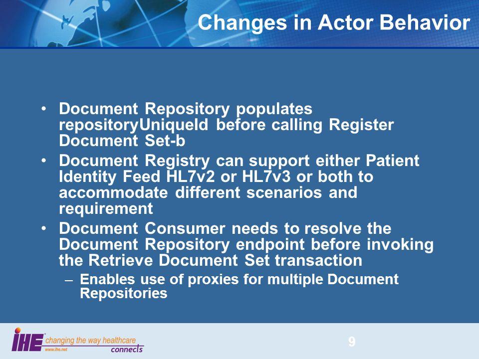 Changes in Actor Behavior