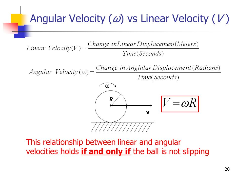 relationship between angular velocity and linear sensor
