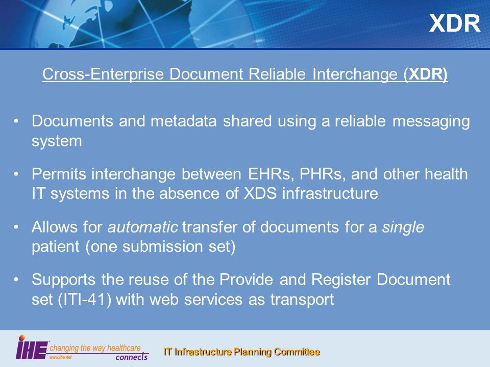 Cross-Enterprise Document Reliable Interchange (XDR)