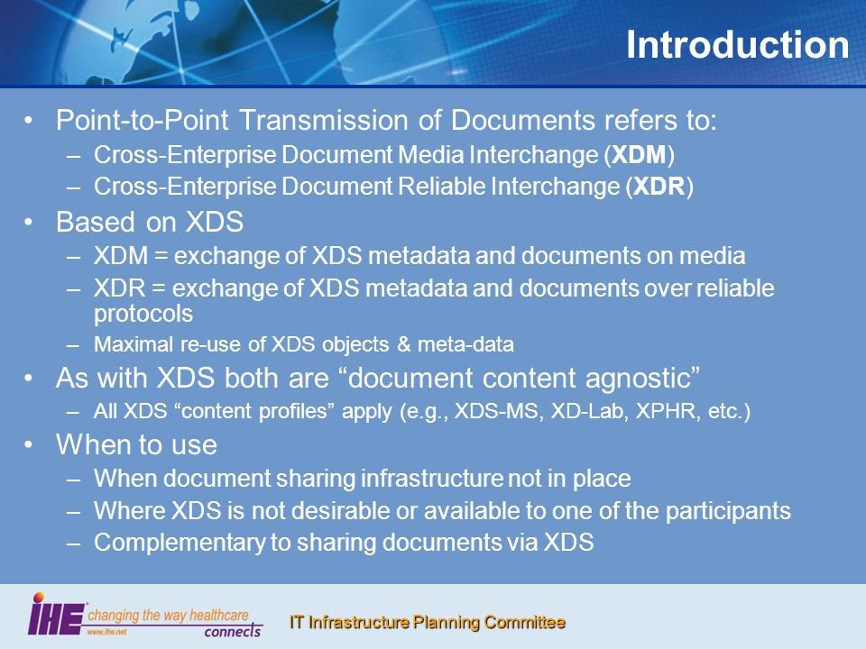 Introduction Point-to-Point Transmission of Documents refers to: