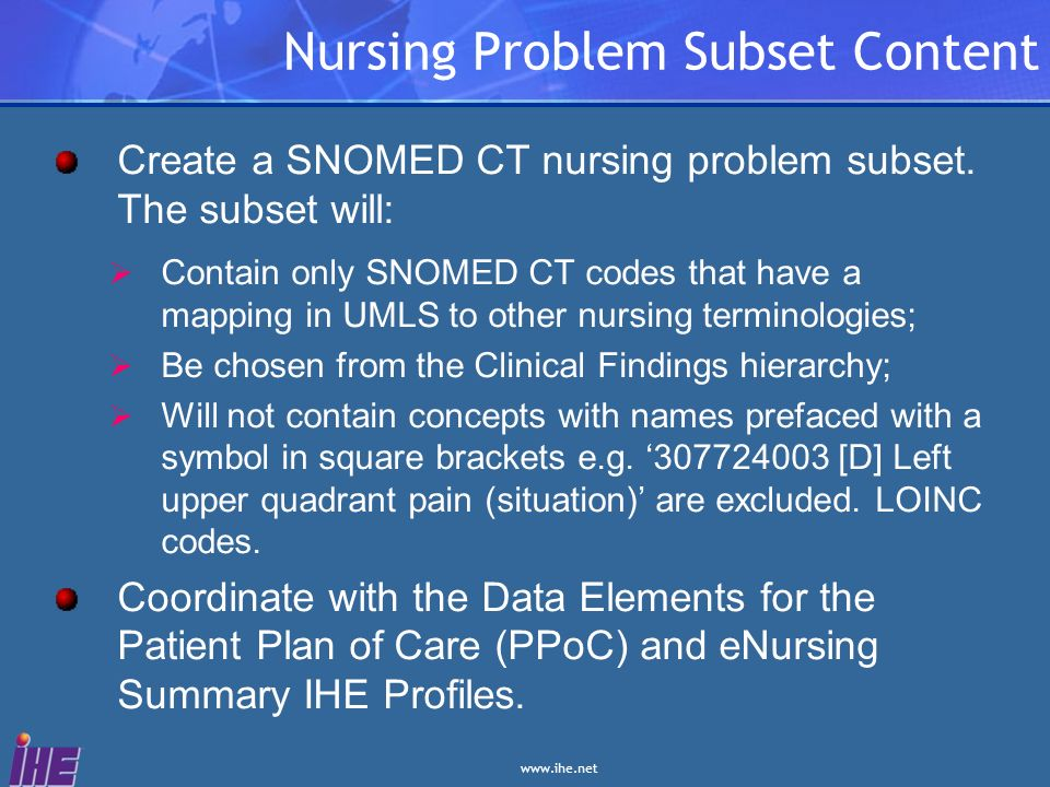 Nursing Problem Subset Content
