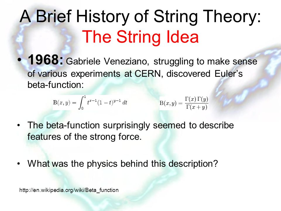 History of string theory