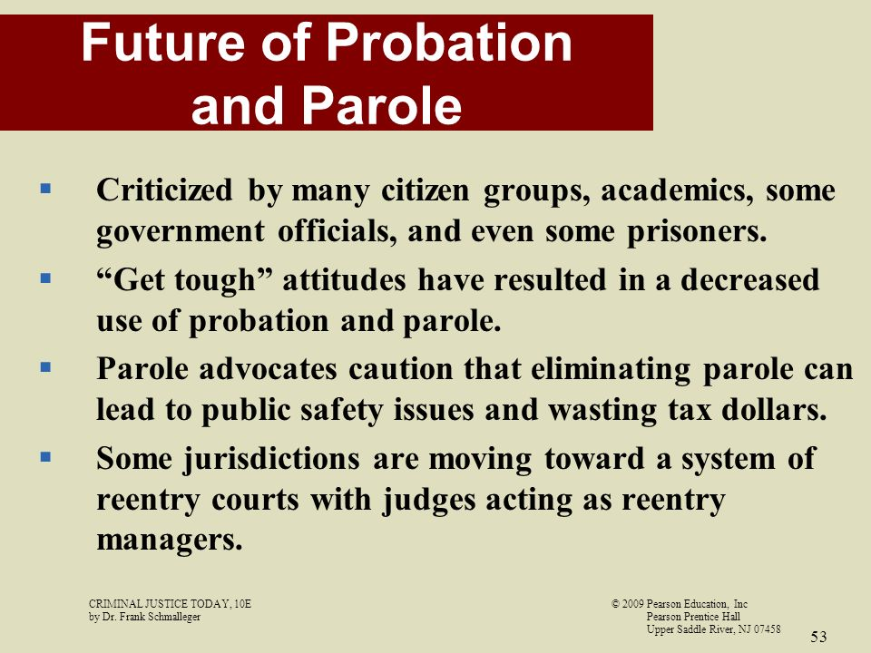 the issue of parole in the criminal justice system The criminal justice system is essentially a maze of agencies and processes that seek to control crime, minimize crime, and impose penalties for the commission of crimes there are various levels of the criminal justice system presently operating in the united states, including the local level, state level, and federal level.