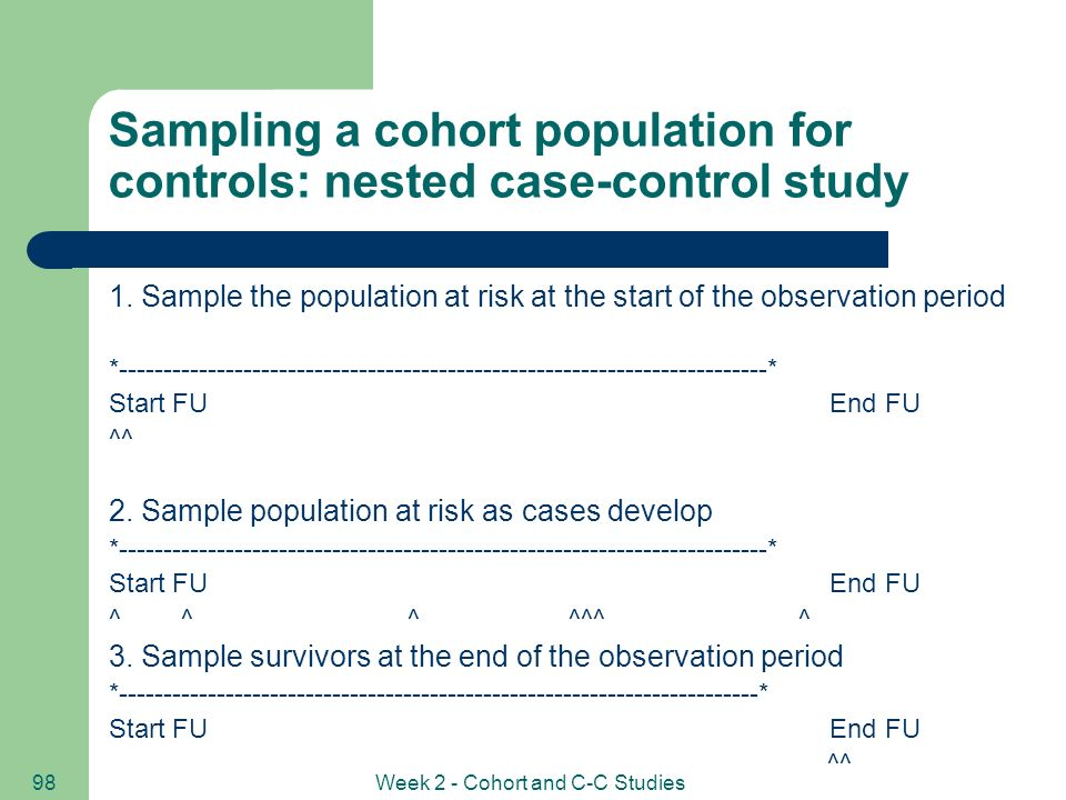 cohort study with nested case-control analysis Prospective cohort an example of a cohort study that has been  nested case-control study  in men and women which was a case control analysis extracted.