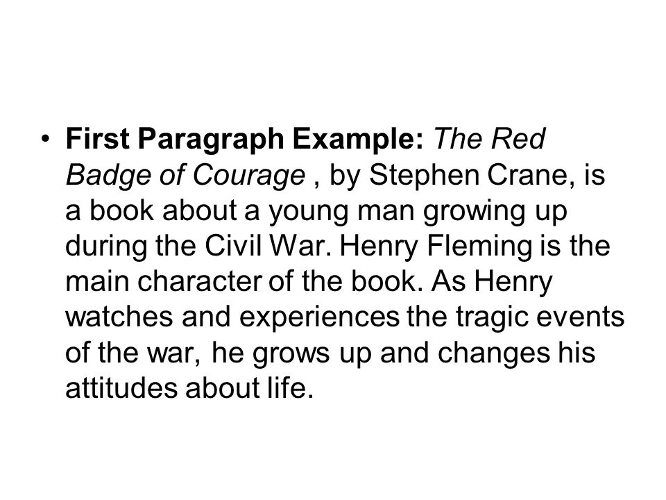 writing acirc ordm bachillerato ppt first paragraph example the red badge of courage by stephen crane is a