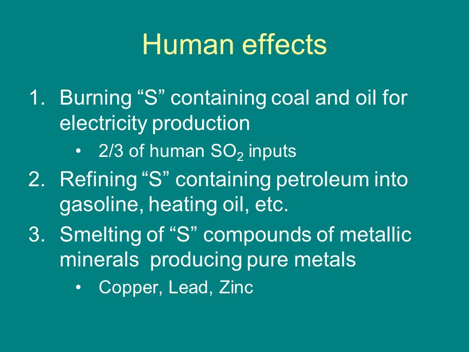 Human effects Burning S containing coal and oil for electricity production. 2/3 of human SO2 inputs.
