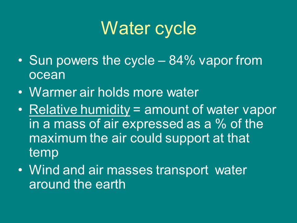 Water cycle Sun powers the cycle – 84% vapor from ocean