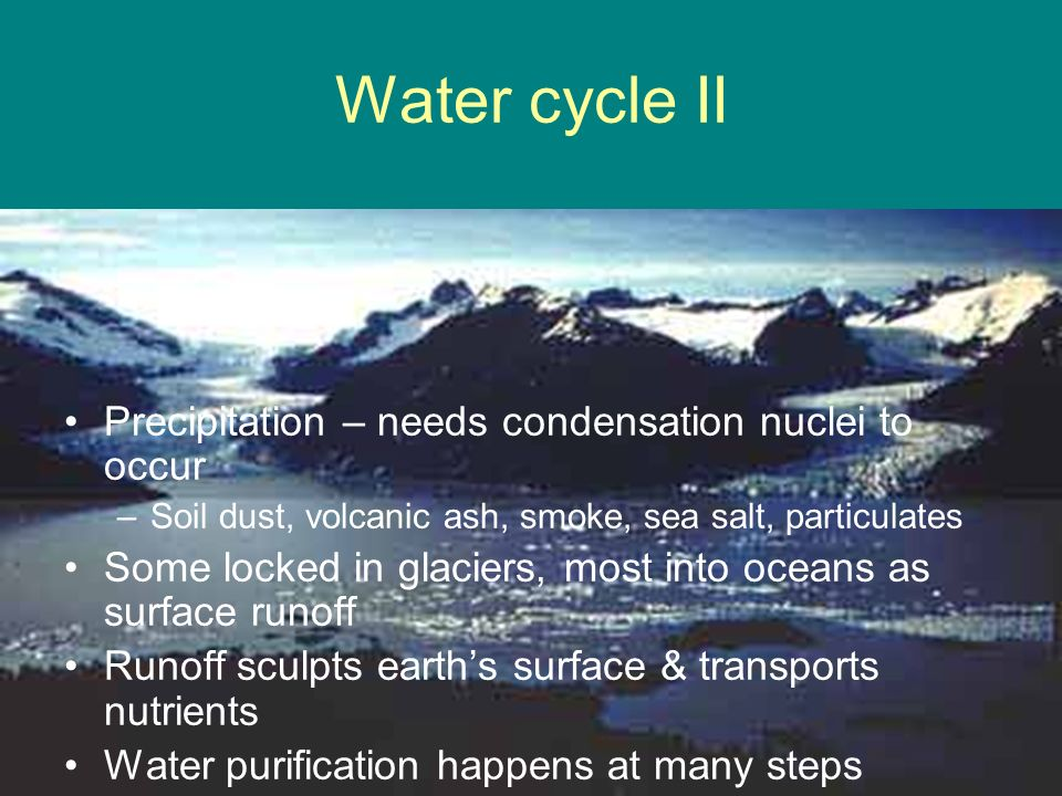 Water cycle II Precipitation – needs condensation nuclei to occur