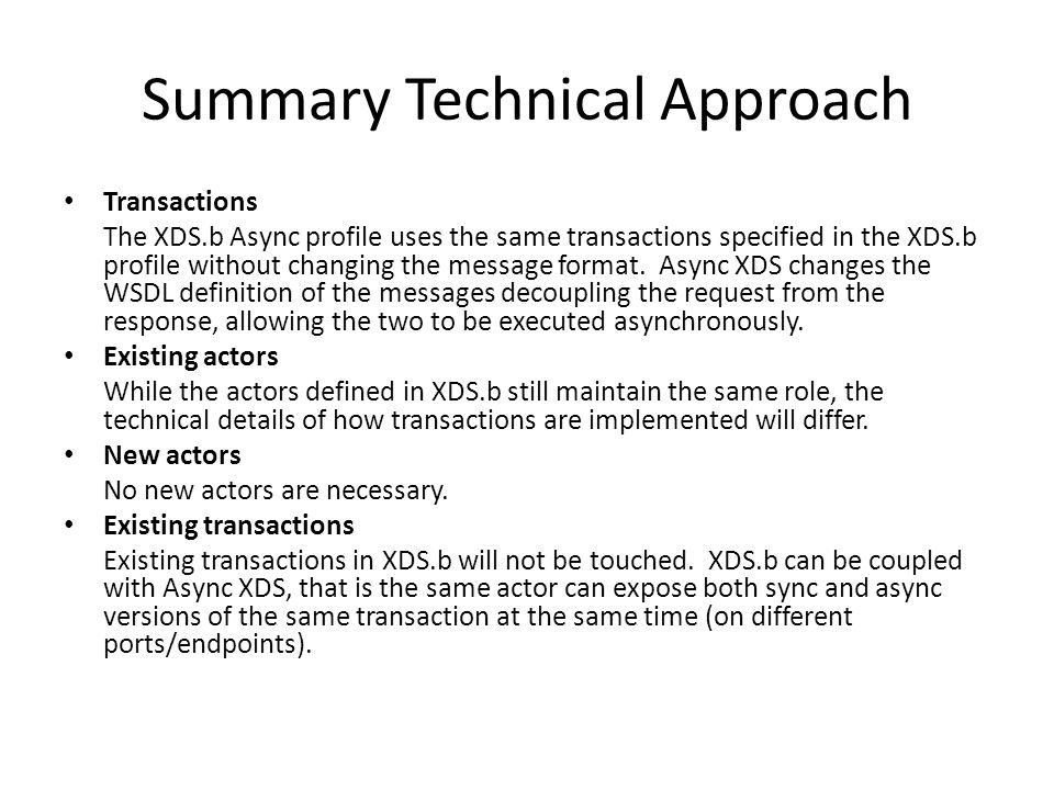 Summary Technical Approach