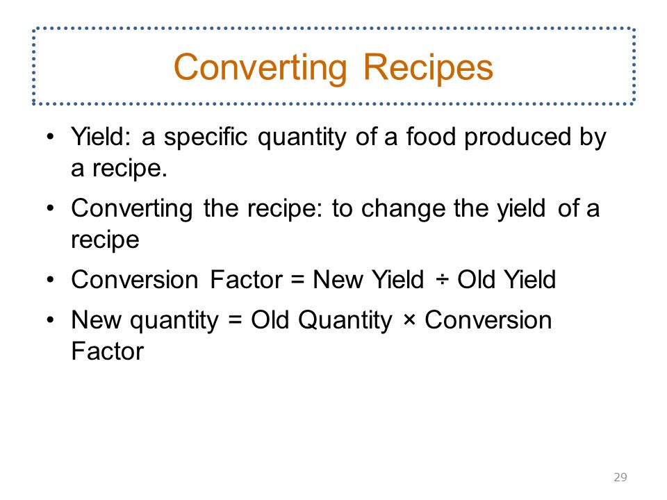 Menus recipes and cost management ppt download 29 converting recipes forumfinder Choice Image