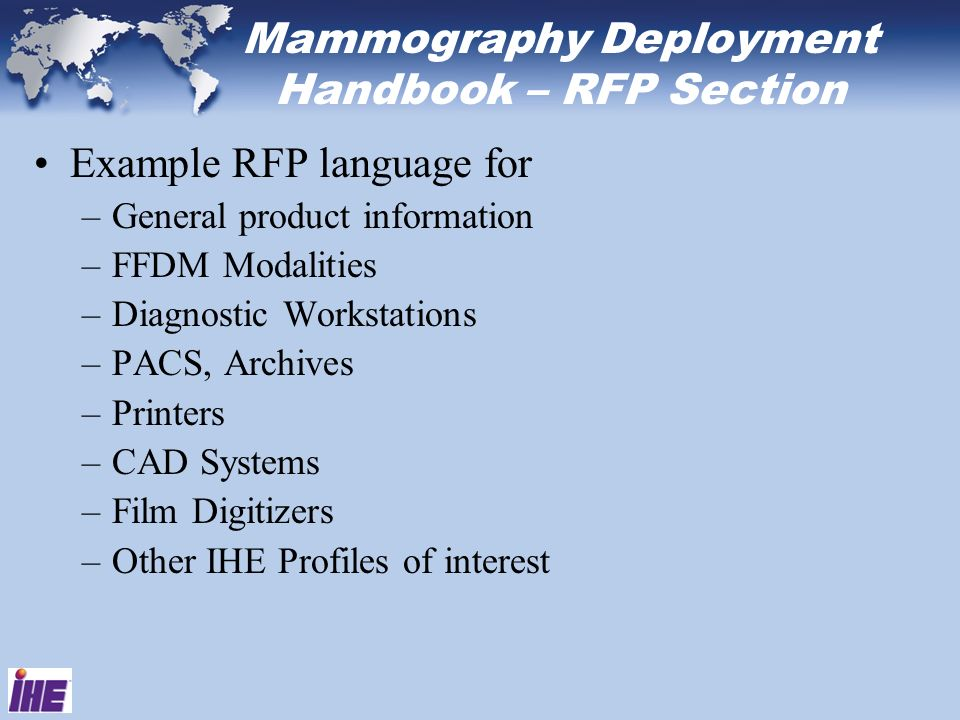 Mammography Deployment Handbook – RFP Section