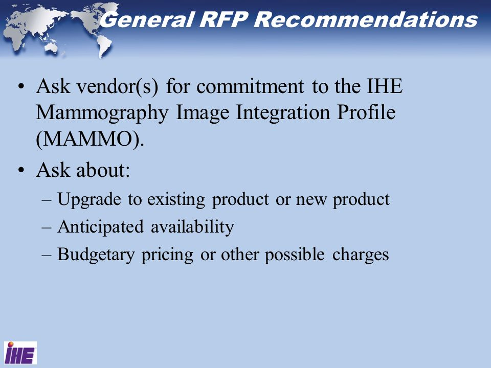 General RFP Recommendations