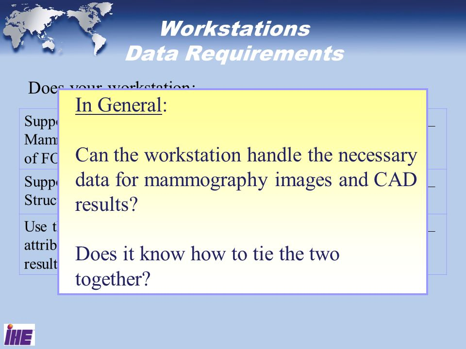 Workstations Data Requirements