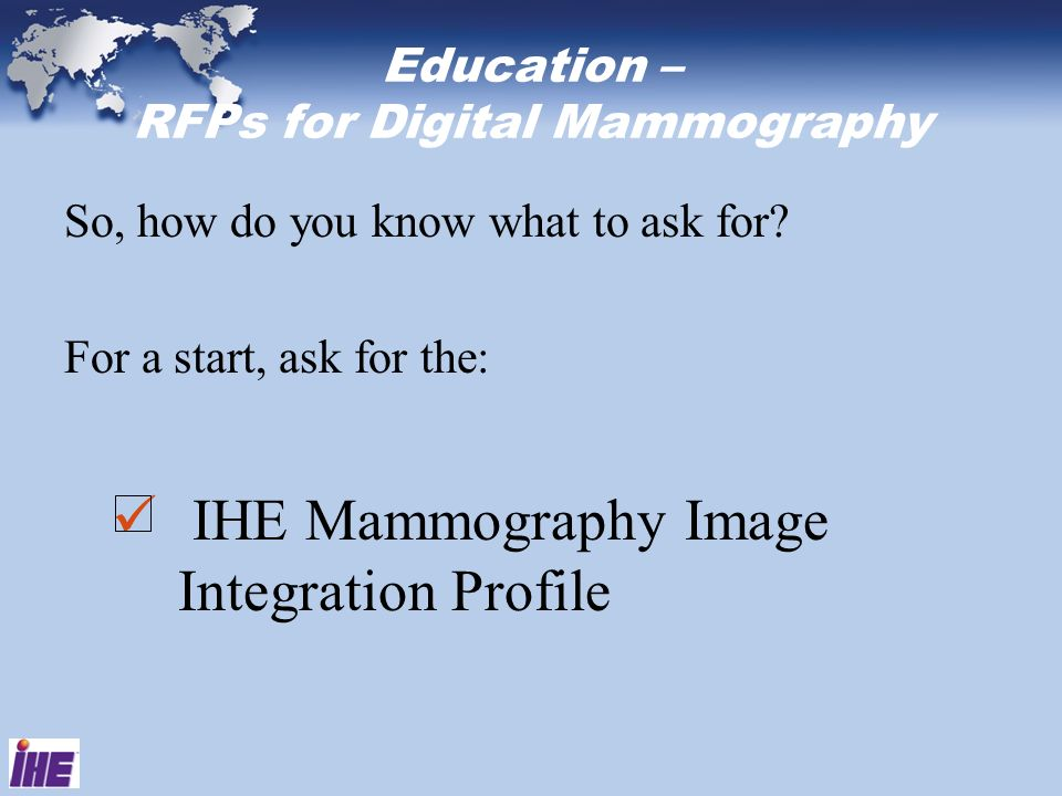 Education – RFPs for Digital Mammography