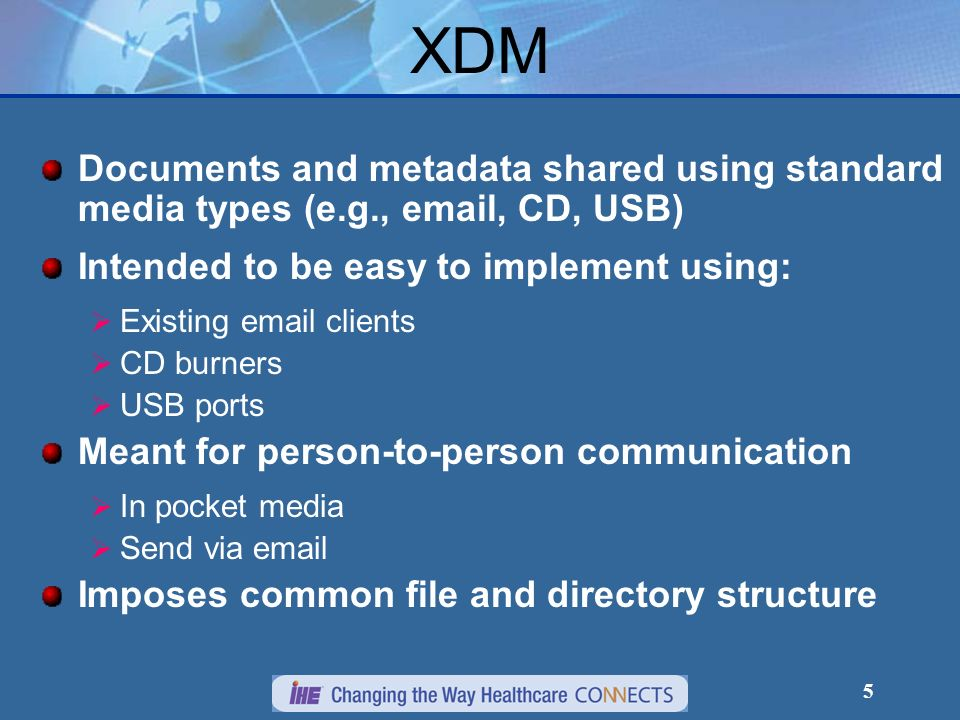 XDM Documents and metadata shared using standard media types (e.g., email, CD, USB) Intended to be easy to implement using: