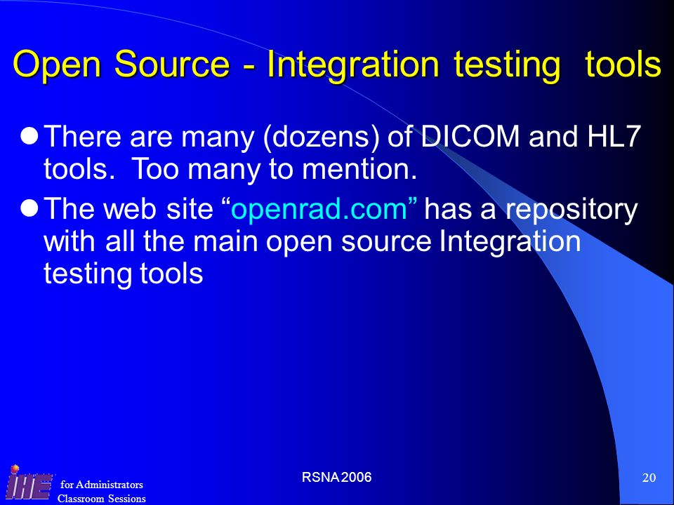 Open Source - Integration testing tools