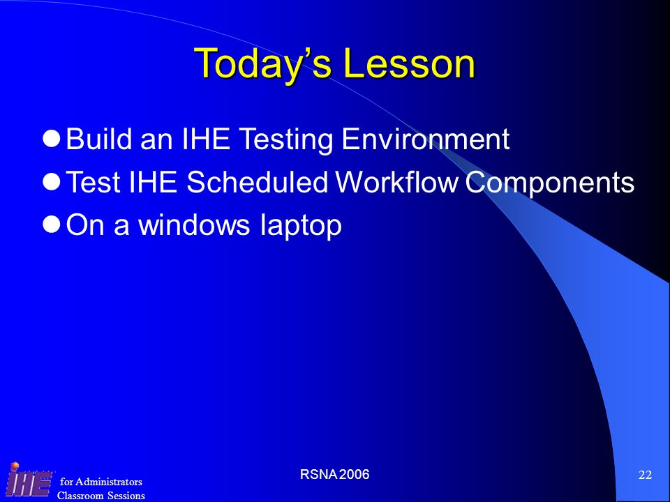 Today's Lesson Build an IHE Testing Environment