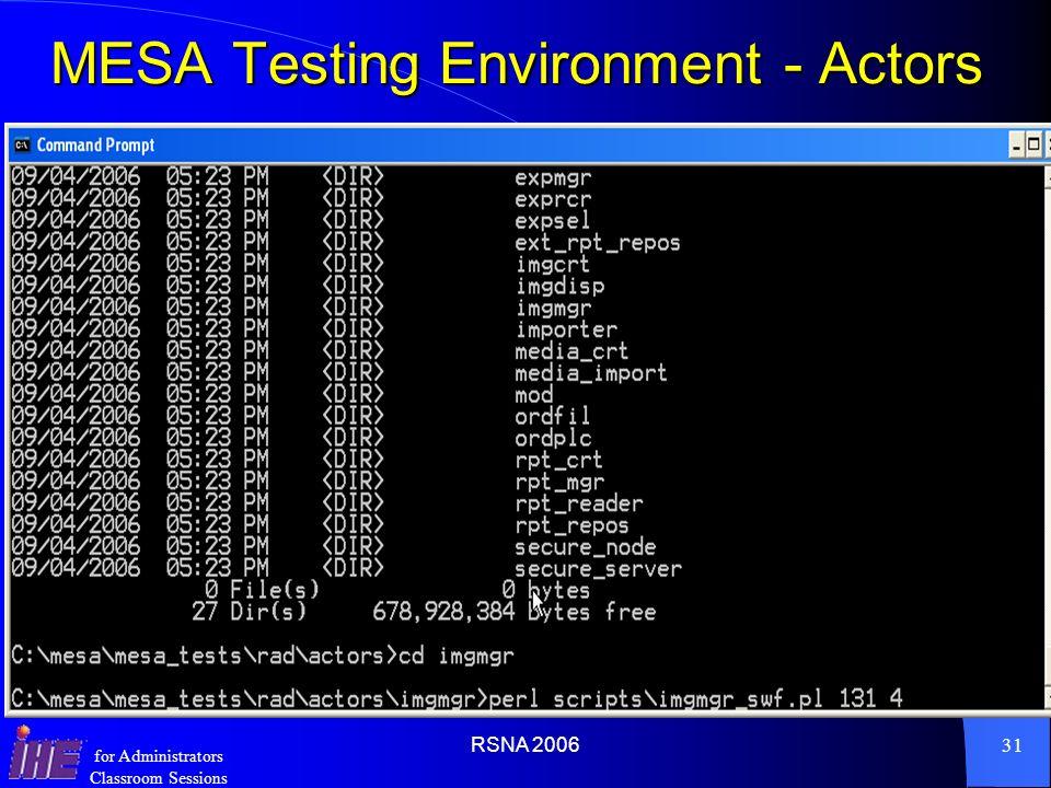 MESA Testing Environment - Actors