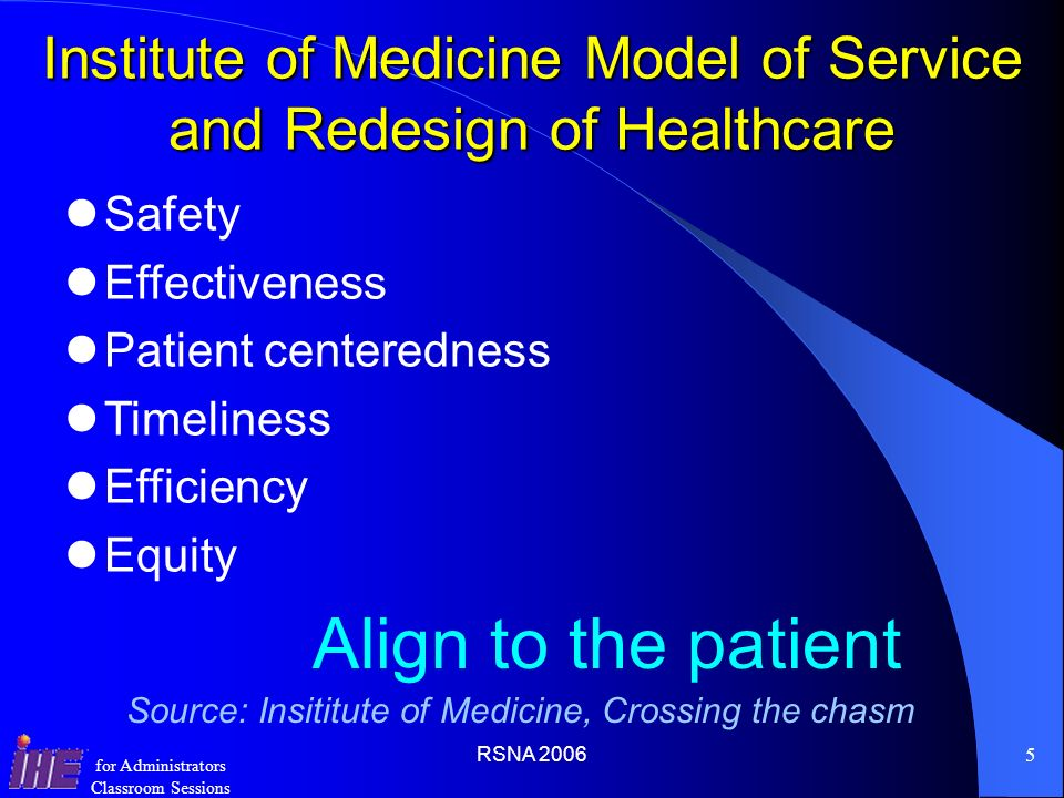 Institute of Medicine Model of Service and Redesign of Healthcare