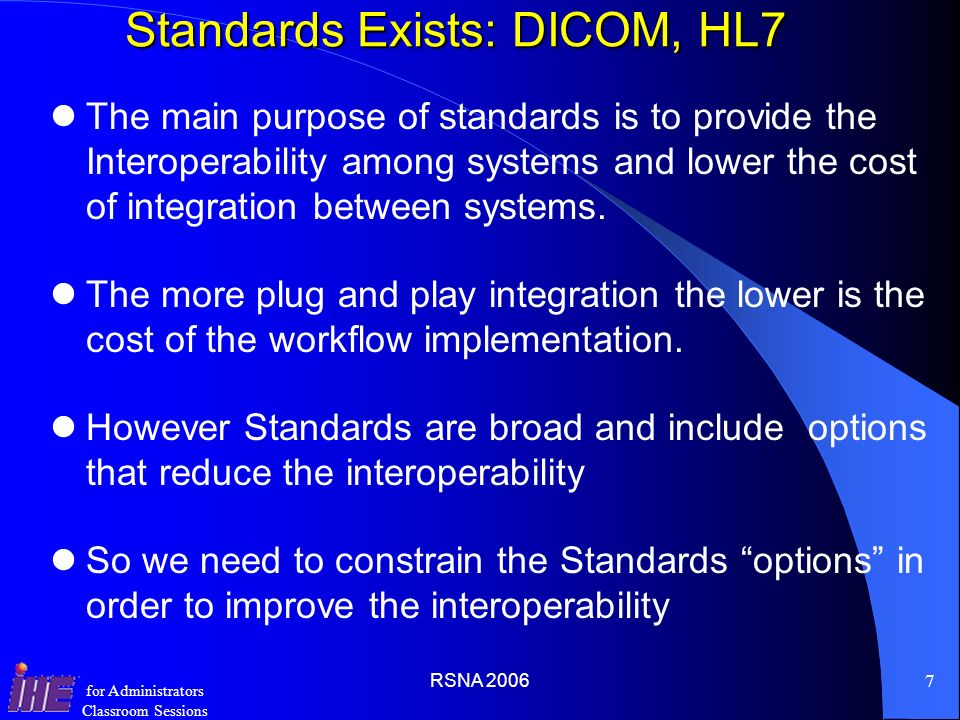 Standards Exists: DICOM, HL7