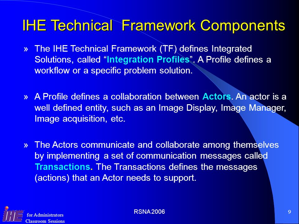 IHE Technical Framework Components