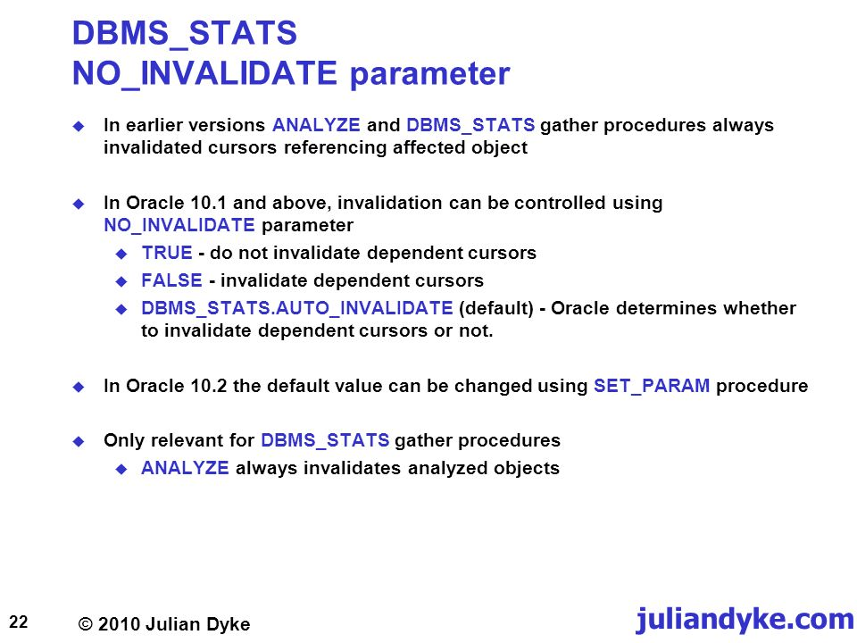 Oracle gather statistics on a specific table without invalidating cursors