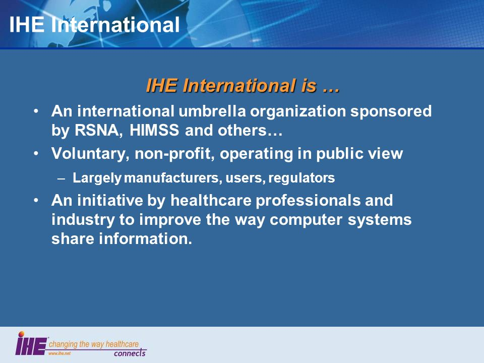 IHE International IHE International is …