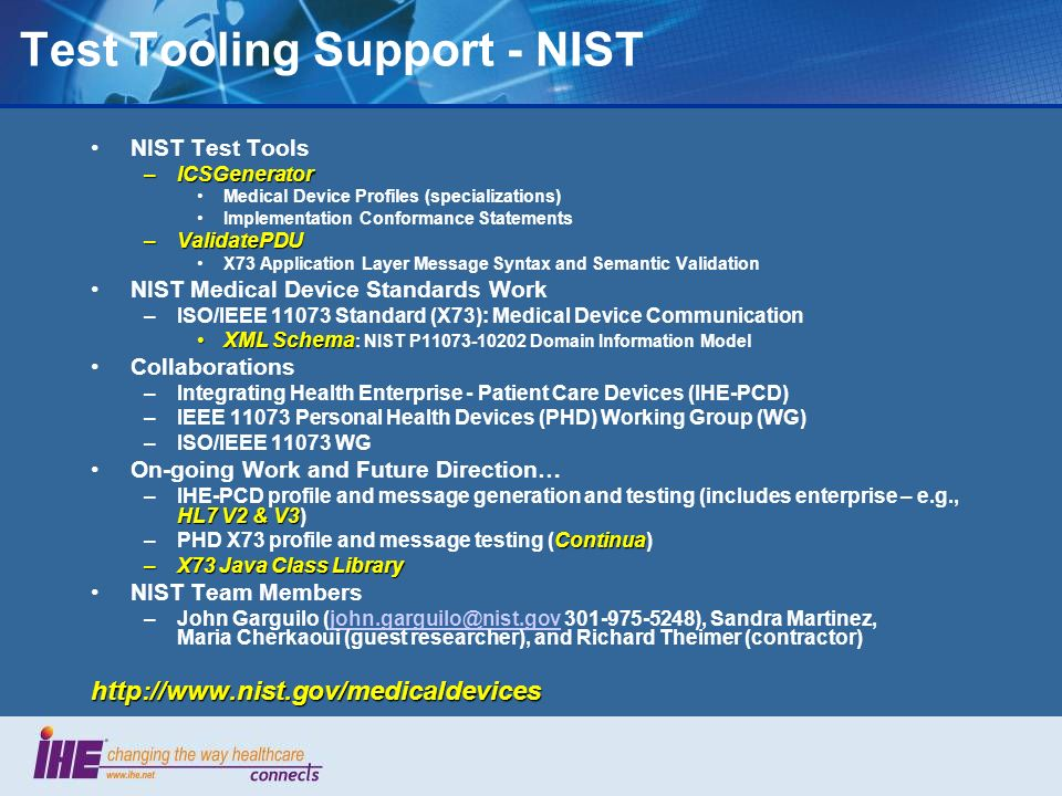 Test Tooling Support - NIST