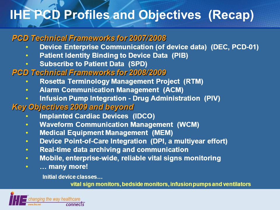 IHE PCD Profiles and Objectives (Recap)