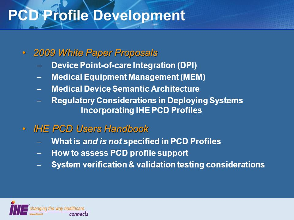 PCD Profile Development