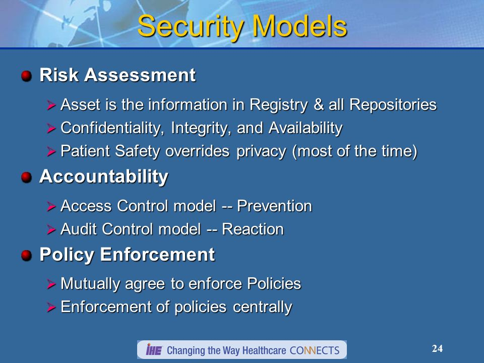 Security Models Risk Assessment Accountability Policy Enforcement