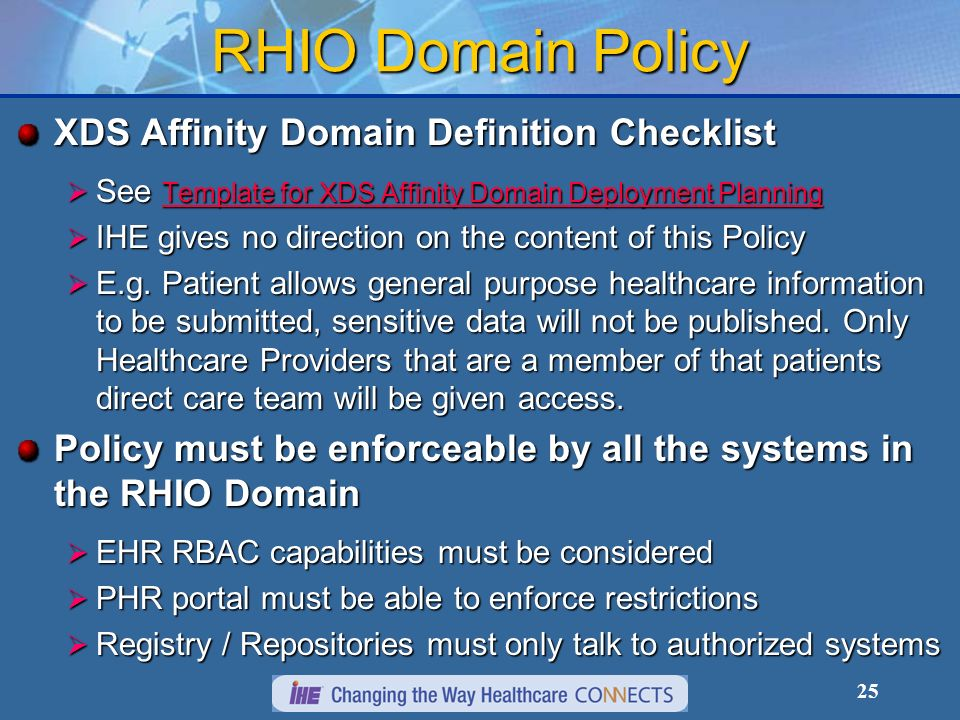 RHIO Domain Policy XDS Affinity Domain Definition Checklist
