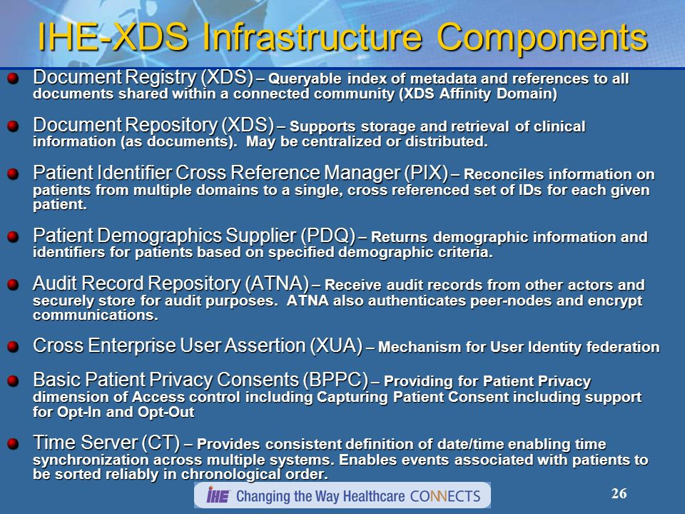 IHE-XDS Infrastructure Components
