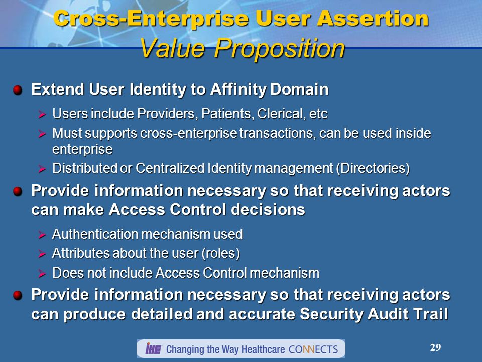 Cross-Enterprise User Assertion Value Proposition