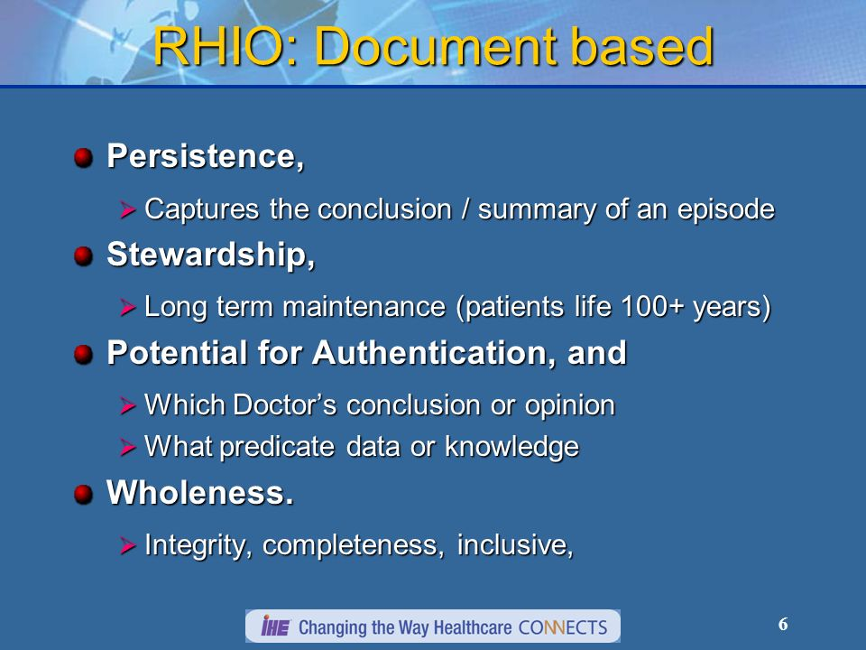 RHIO: Document based Persistence, Stewardship,