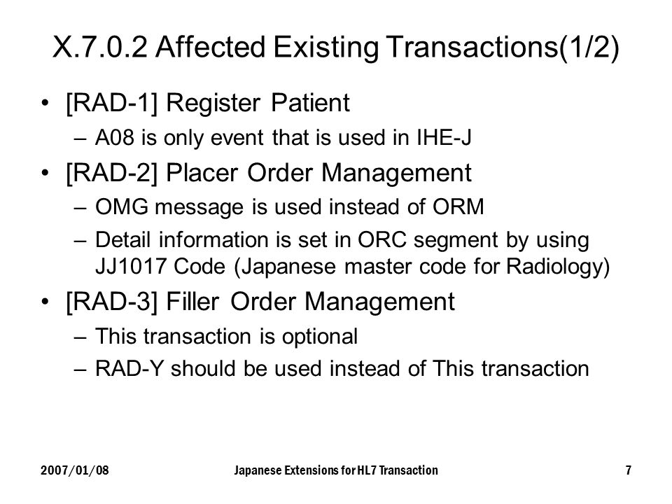 X.7.0.2 Affected Existing Transactions(1/2)