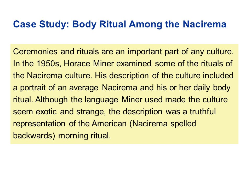 "an analysis of the concept of religion in nacirema by miner Body ritual among the nacirema the nacirema"" relate to the core concepts of 2013 body ritual among the nacirema horace miner in the."