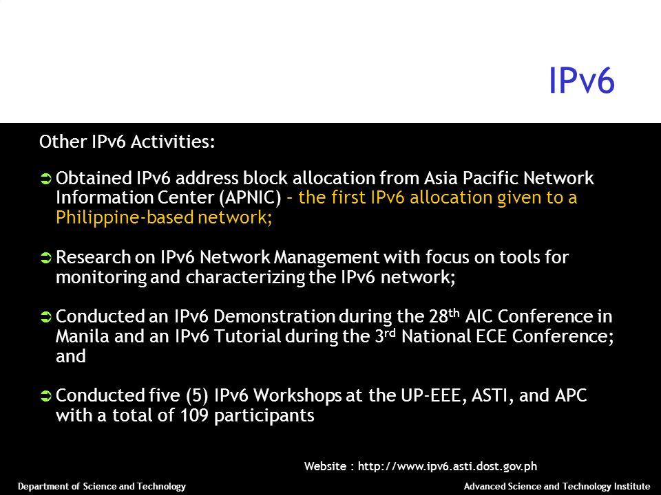 IPv6 Other IPv6 Activities:
