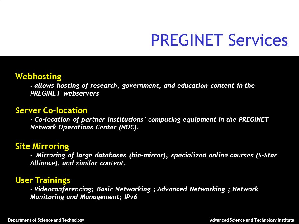 PREGINET Services Webhosting Server Co-location Site Mirroring