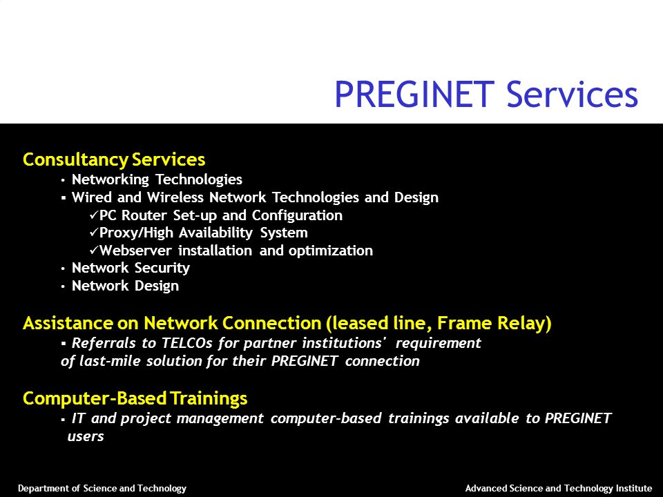 PREGINET Services Consultancy Services