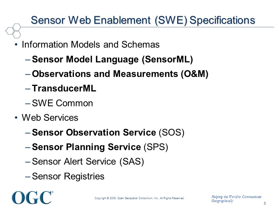 Sensor Web Enablement (SWE) Specifications