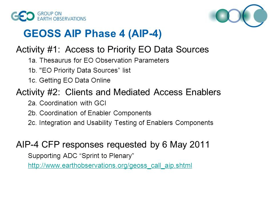 GEOSS AIP Phase 4 (AIP-4) Activity #1: Access to Priority EO Data Sources. 1a. Thesaurus for EO Observation Parameters.
